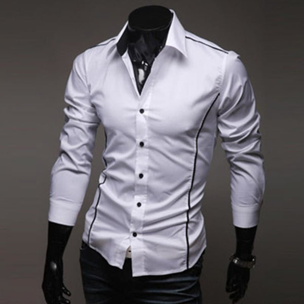 Mens Shirt Long Sleeve Slim Fit Dress Shirt