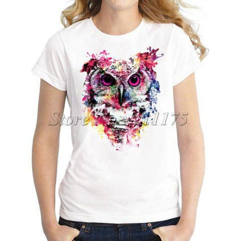 Colorful Owl Design T shirt