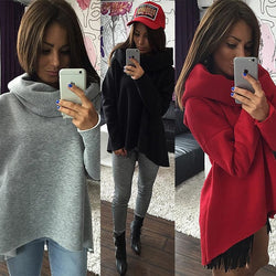 Women Scarf Collar Sweatshirt
