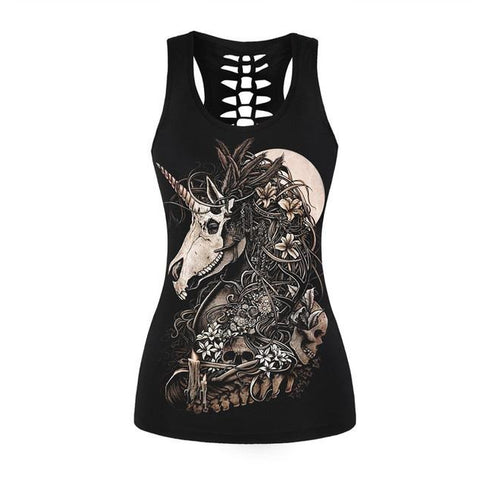 Unicorn Black Tank Tops