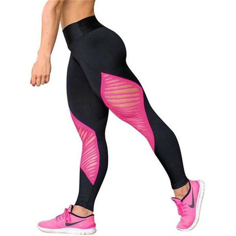 Sexy Hollow Out Pink Sport Leggings