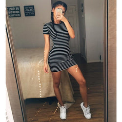 Round Neck Striped Short-sleeved Dress