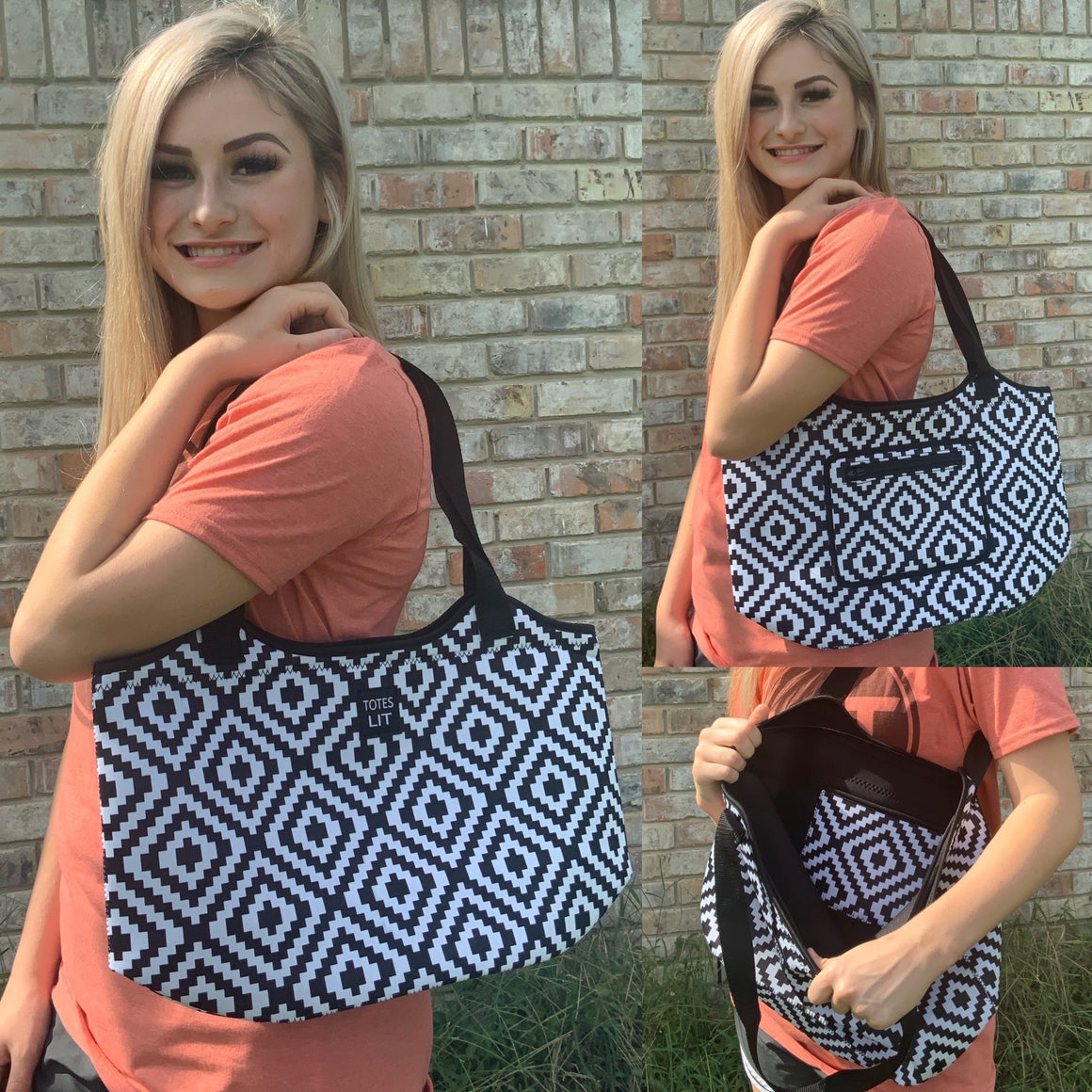 Black & White Aztec Neoprene Tote