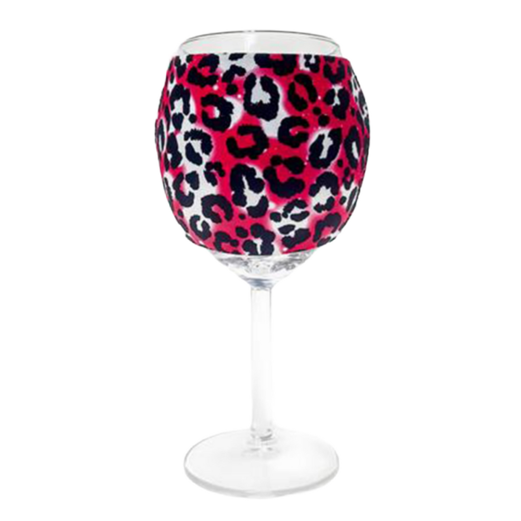 Hot Pink Leopard Wine Glass Sleeve