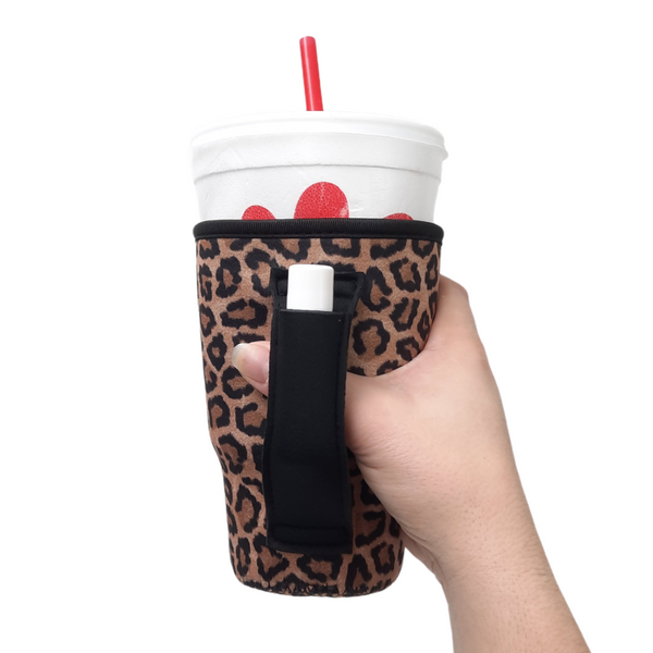 Leopard w/ Black 20-27oz Venti / Large Tea / 27oz Shaker Bottle / 20oz Tumbler Handler™