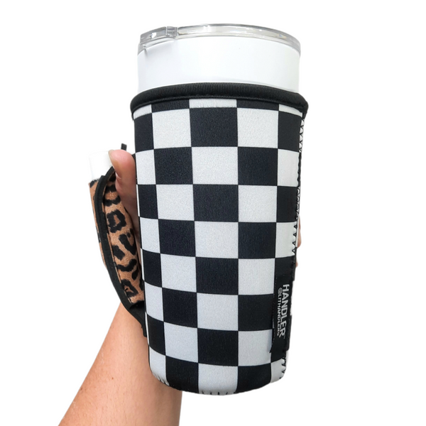 Checkerboard w/ Leopard 20-27oz Venti / Large Tea / 27oz Shaker Bottle / 20oz Tumbler Handler™