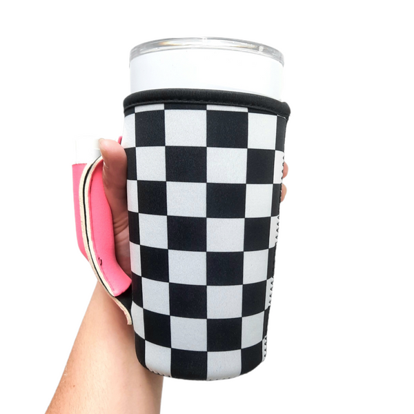Checkerboard w/ Neon Pink 20-27oz Venti / Large Tea / 27oz Shaker Bottle / 20oz Tumbler Handler™
