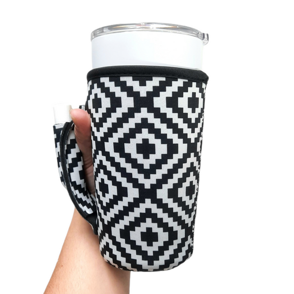 Black & White Aztec 20-27oz Venti / Large Tea / 27oz Shaker Bottle / 20oz Tumbler Handler™ - Limited Edition*