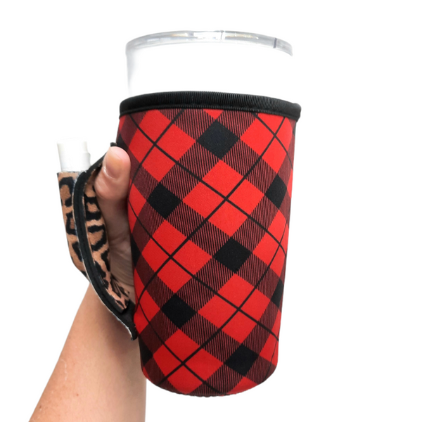 Red Plaid w/ Leopard 20-27oz Venti / Large Tea / 27oz Shaker Bottle / 20oz Tumbler Handler™