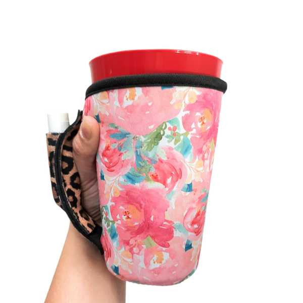 Summer Blooms w/ Leopard 16oz Pint Glass / Tumbler / Tea / Grande Coffee / Medium Drinks Handler™