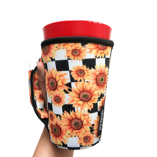 Sunflowers & Checkers 16oz Pint Glass / Tumbler / Tea / Grande Coffee / Medium Drinks Handler™