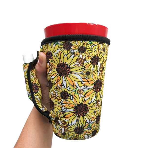 Sunflower & Bees 16oz Pint Glass / Tumbler / Tea / Grande Coffee / Medium Drinks Handler™