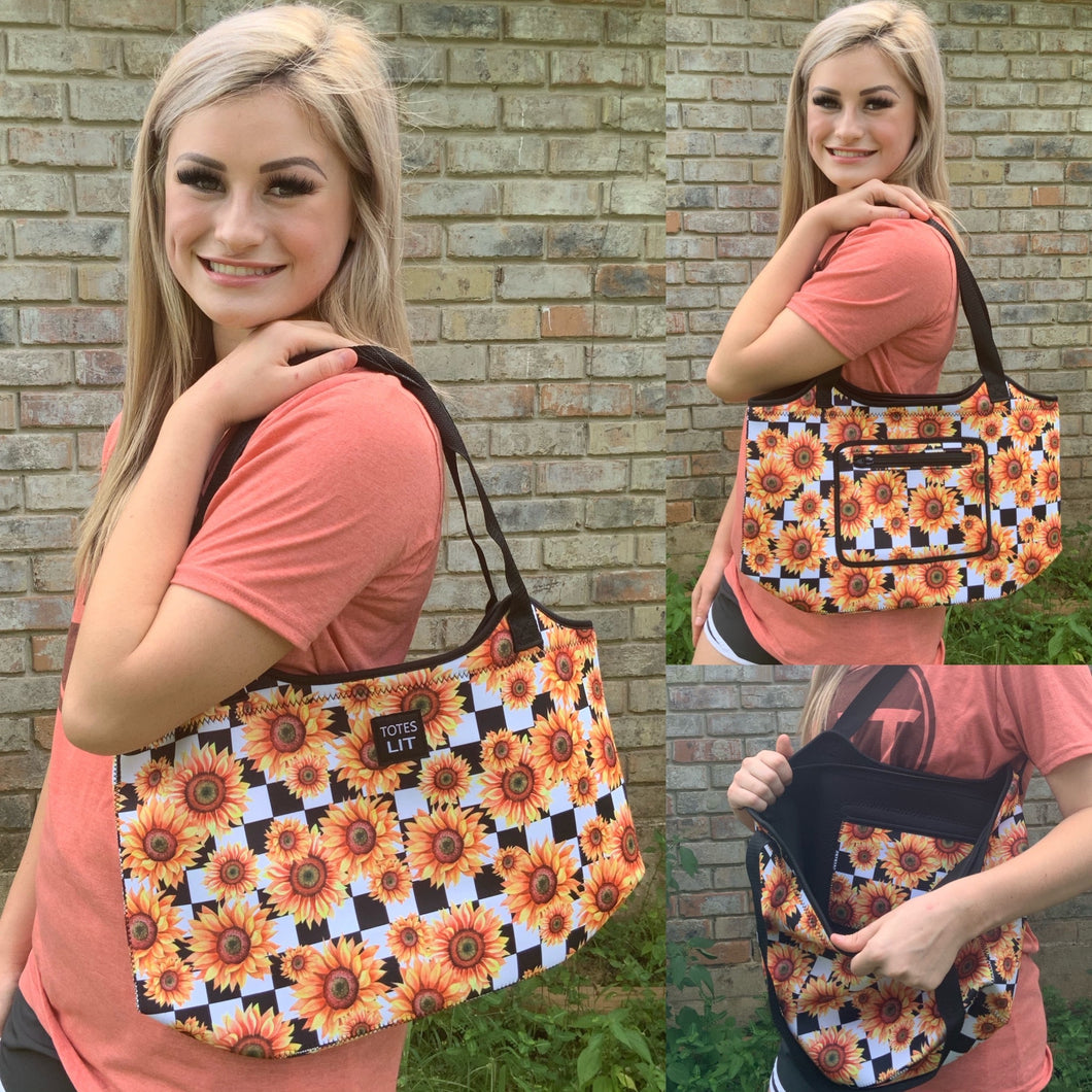 Sunflowers & Checkers Neoprene Tote
