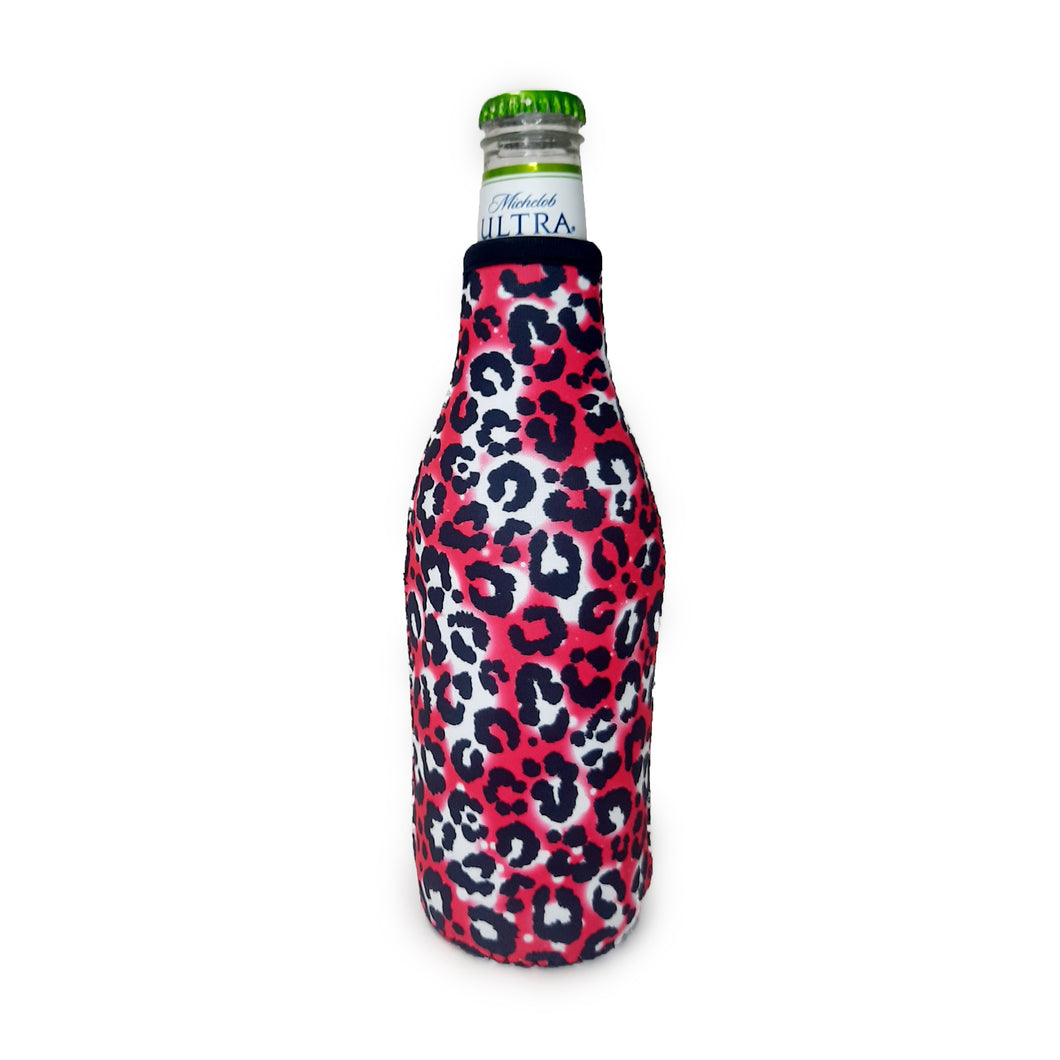 Hot Pink Leopard Bottleneck Cooler
