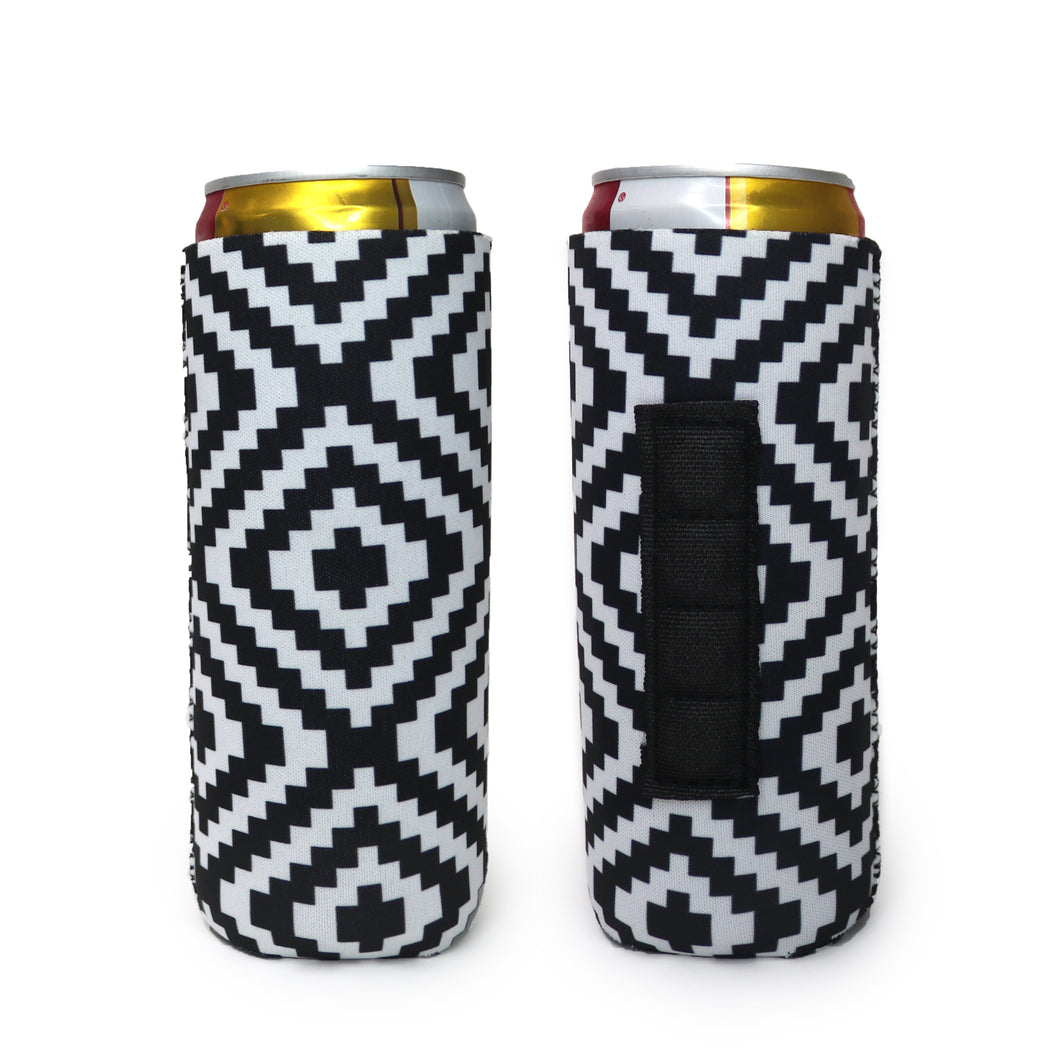Black & White Aztec Magnetic 12oz Slim Can Cooler