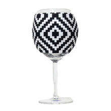 Load image into Gallery viewer, Black & White Aztec Wine Glass Sleeve