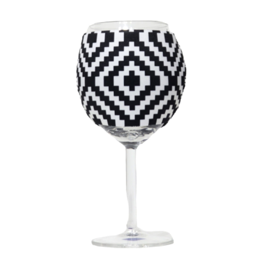 Black & White Aztec Wine Glass Sleeve
