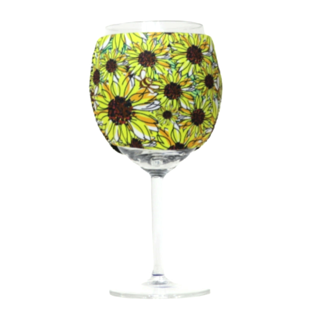 Sunflowers & Bees 🐝 Wine Glass Sleeve