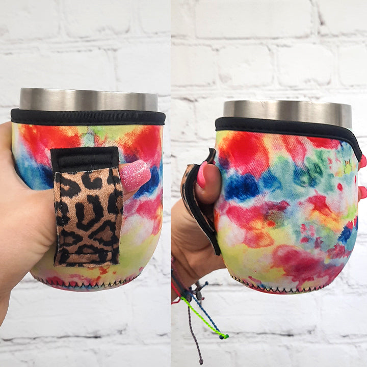 Tie Dye with Leopard 12oz Wine Tumbler Handler