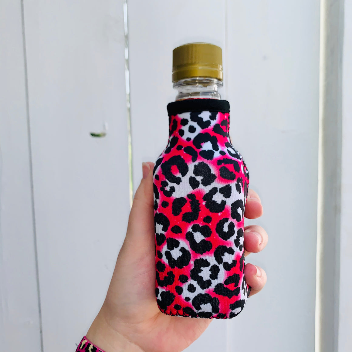 Hot Pink Leopard Mini Bottleneck Cooler