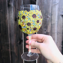 Load image into Gallery viewer, Sunflowers & Bees 🐝 Wine Glass Sleeve