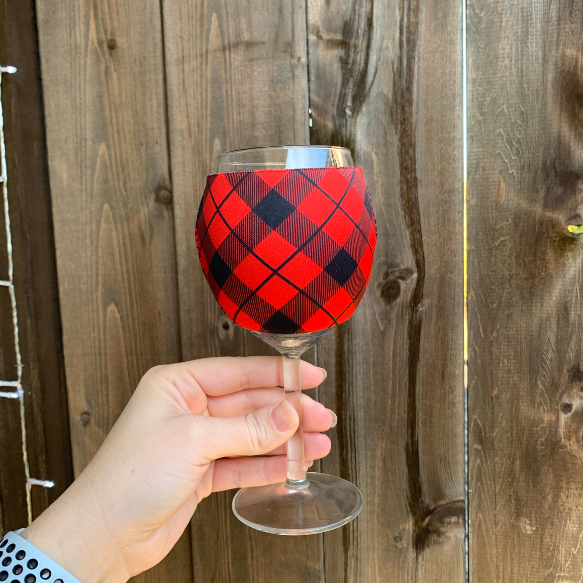 Red Plaid Wine Glass Sleeve