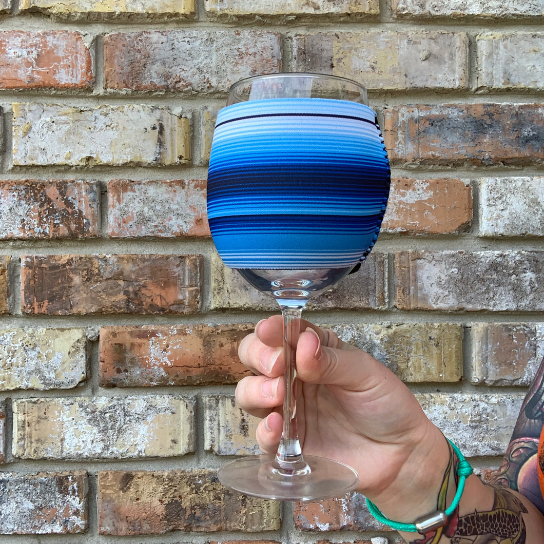 Blue Serape Wine Glass Sleeve