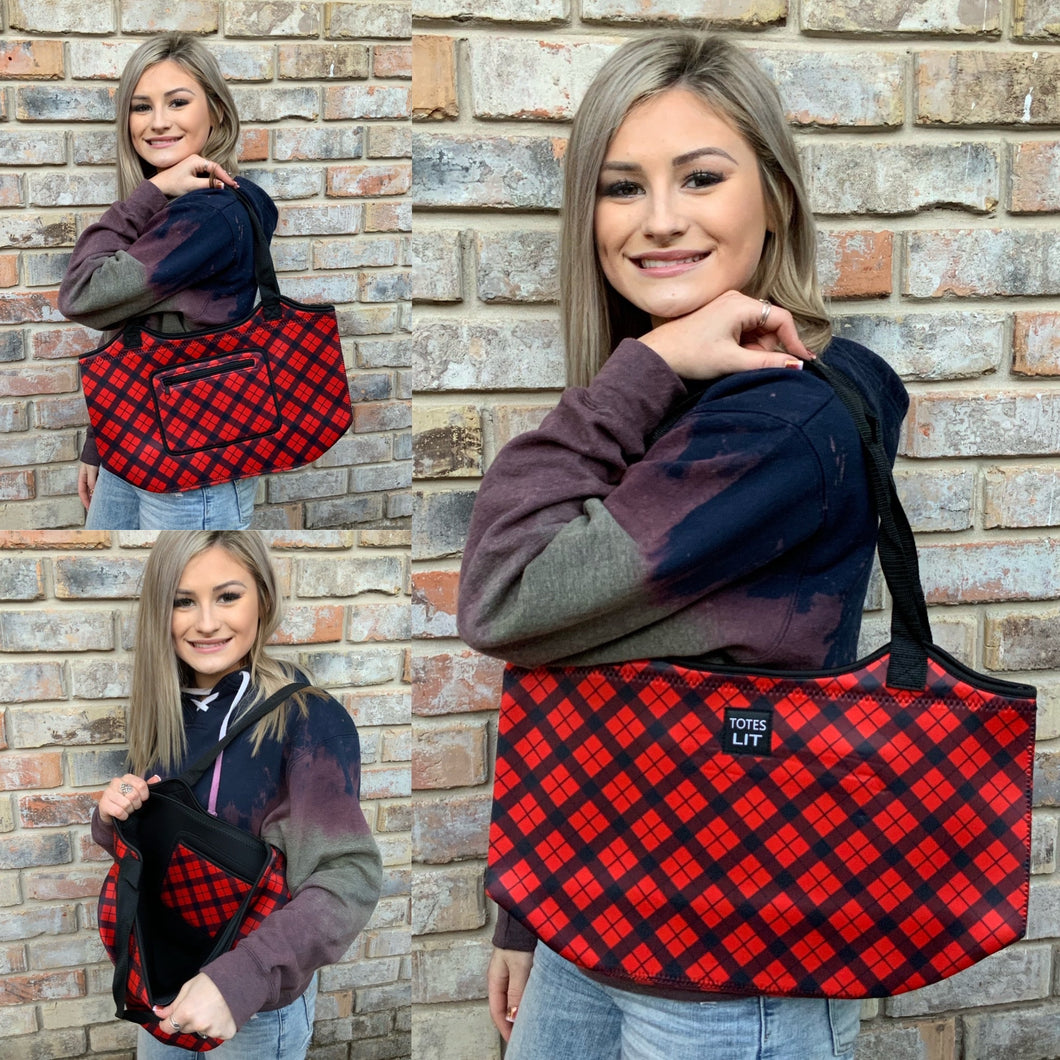 Red Plaid Neoprene Tote