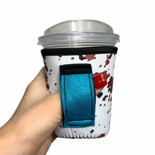 Load image into Gallery viewer, Cowhide W/ Turquoise Leather Handle 12oz Small/Tall Coffee Handler™
