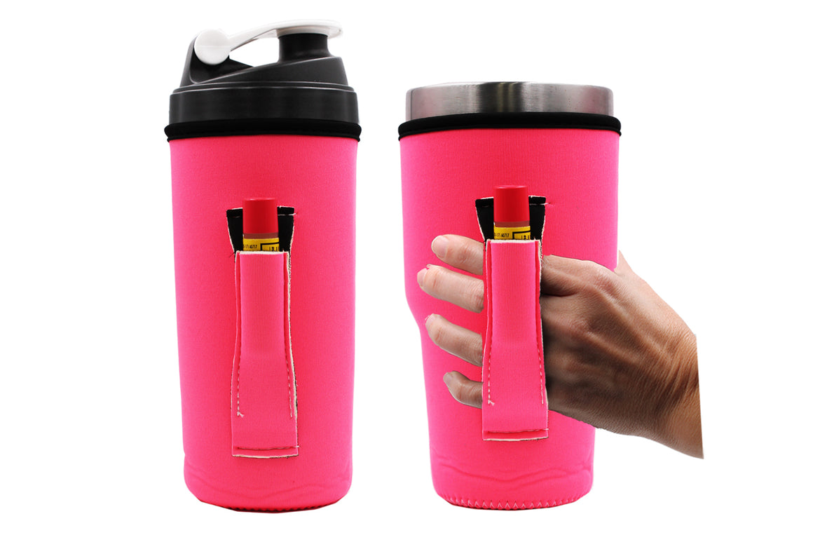Neon Pink 24-30OZ Handler fits Blender Bottles & YETI® with Pocket