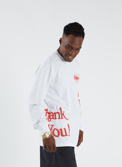 Thank You All Over T-shirt L/S - White