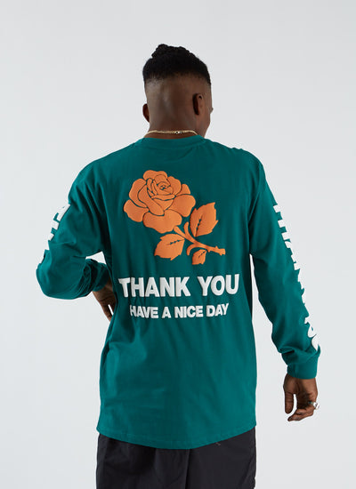 Thank You Rose T-shirt L/S - Spruce