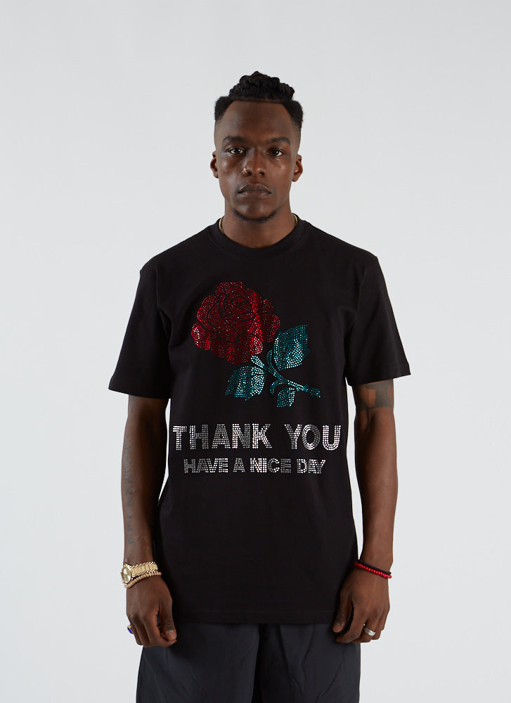 Thank You Rhinestone T-shirt - Black