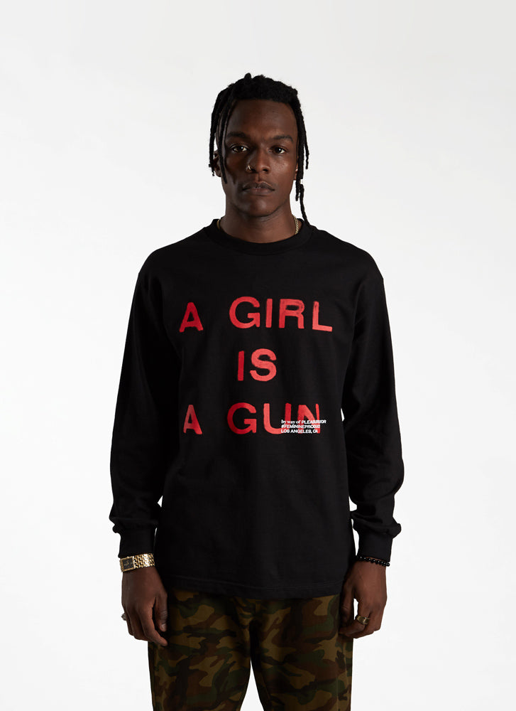 'A Girl is a Gun' Long Sleeve T-shirt - Black