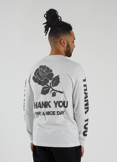 Thank You Longsleeve T-shirt - Ash Grey