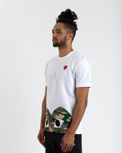 T-shirt with Large Camo Half Heart - White