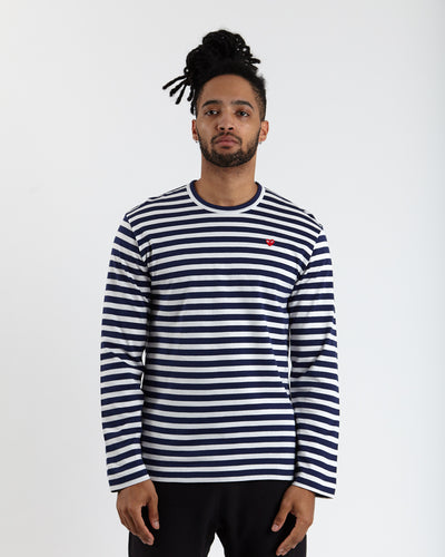 Little Red Heart Striped T-Shirt - Navy/White