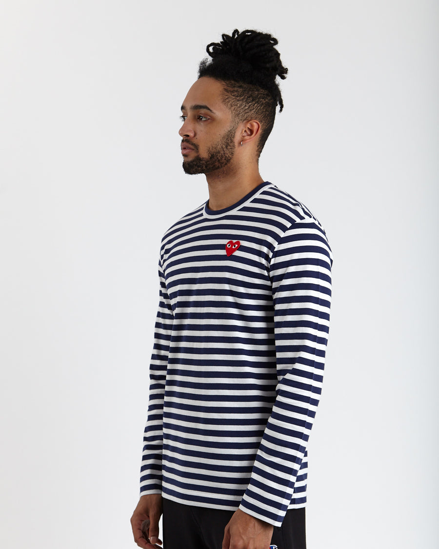 Play Striped Big Red Heart T-Shirt (Navy/White)
