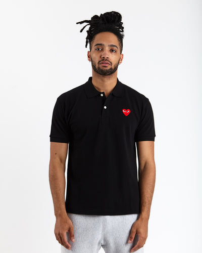 Red Heart Play Polo Shirt - Black