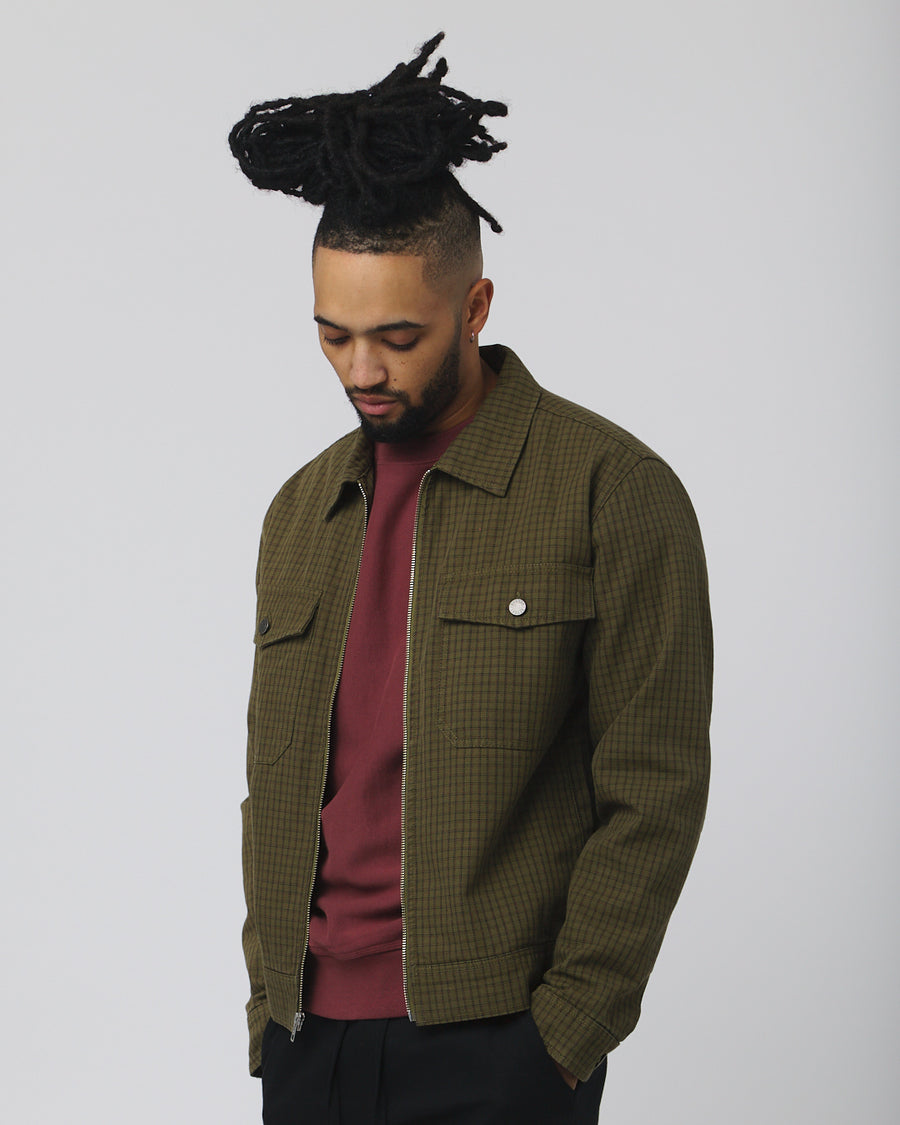 Check Garage Jacket - Olive