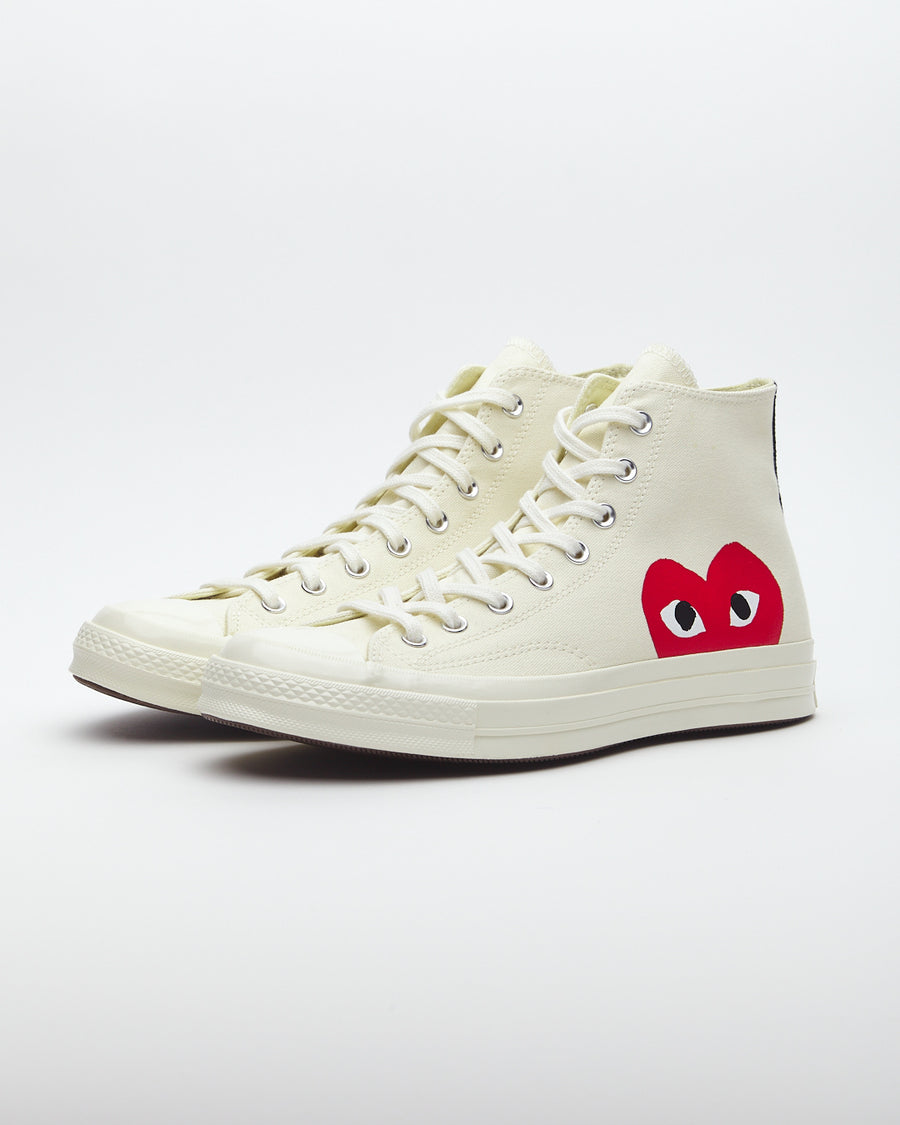 Comme des Garcons Play Peek-A-Boo High-Top Canvas Sneakers White