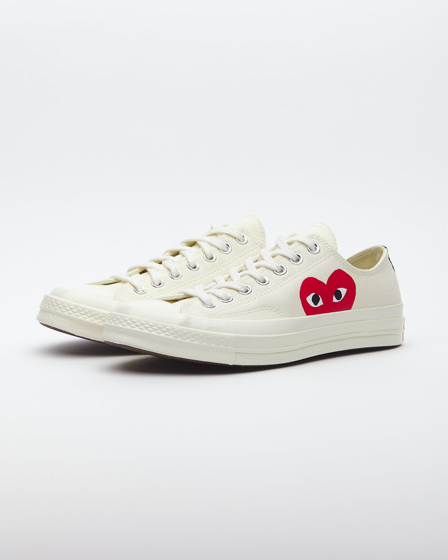Comme des Garcons Play Peek-A-Boo Low-Top Canvas Sneakers White