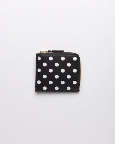 Polka Dots Printed Wallet 1/2 Zip - Black  (SA3100PD)