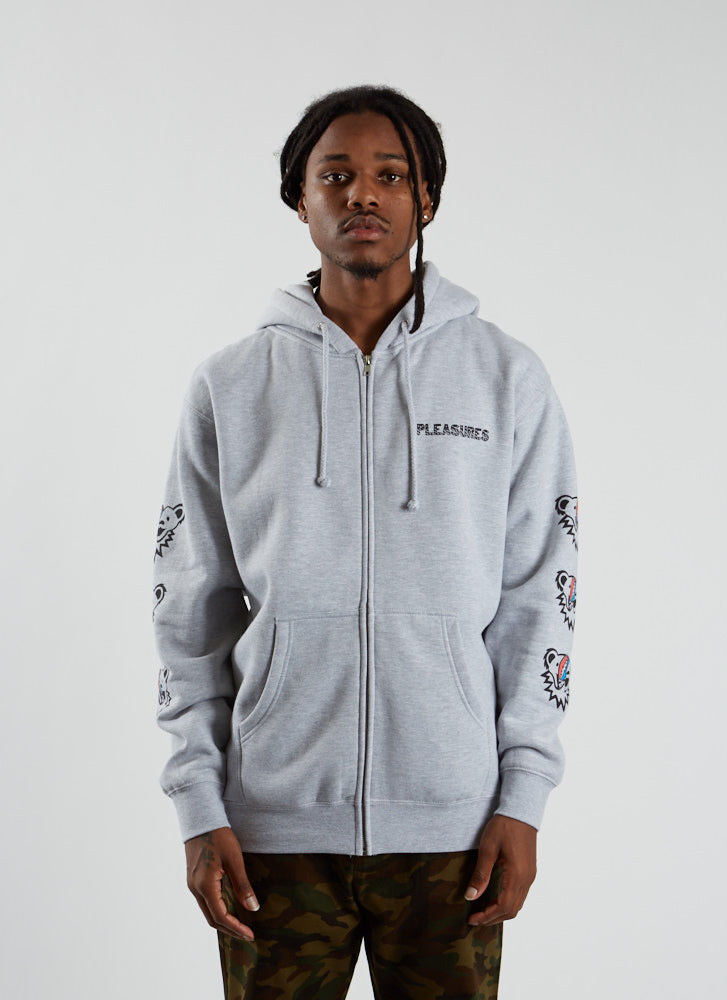 Pleasures x Grateful Dead Dead Inside Zip Hoodie - Heather Grey