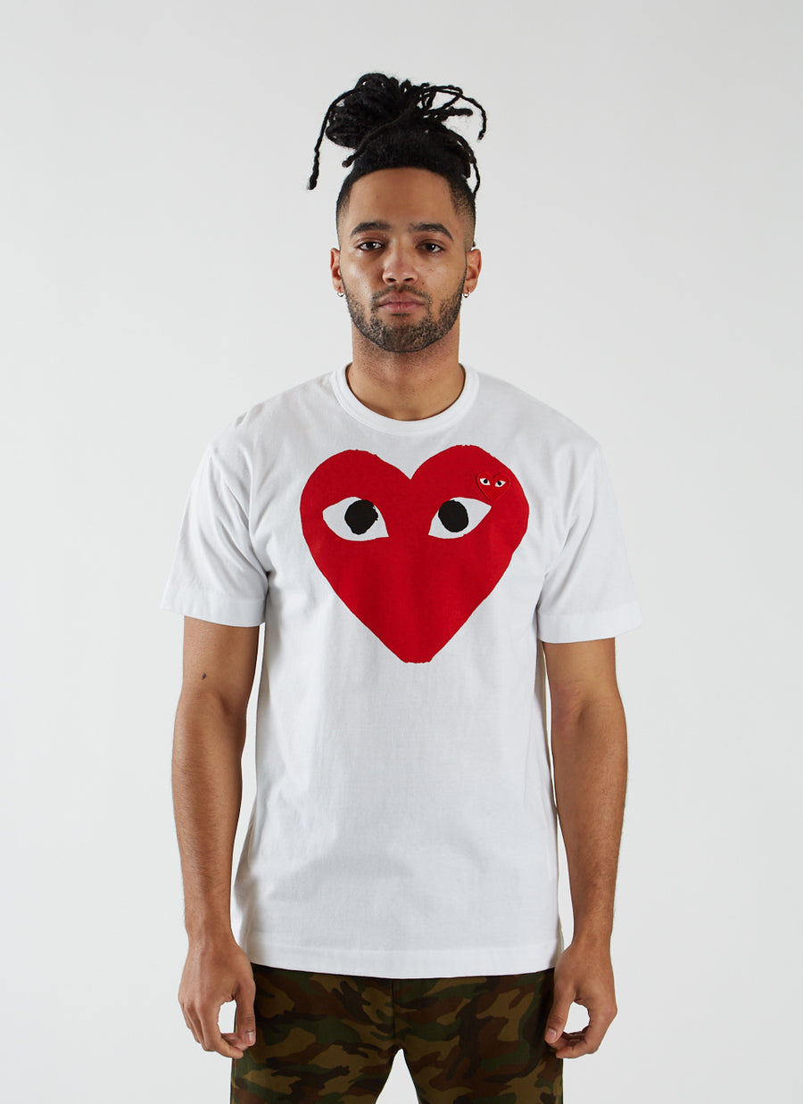 T-shirt with Large Red Heart - White
