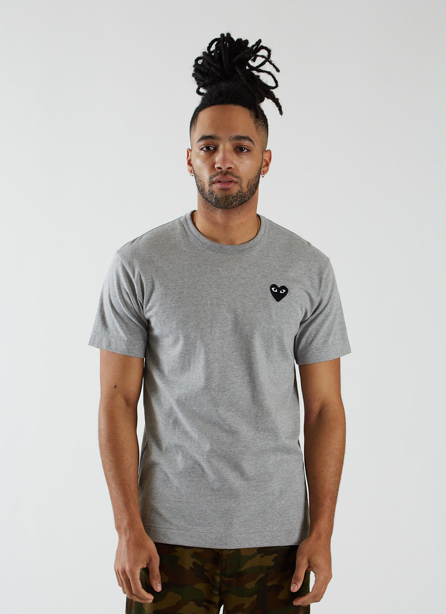 T-shirt with Black Heart - Grey