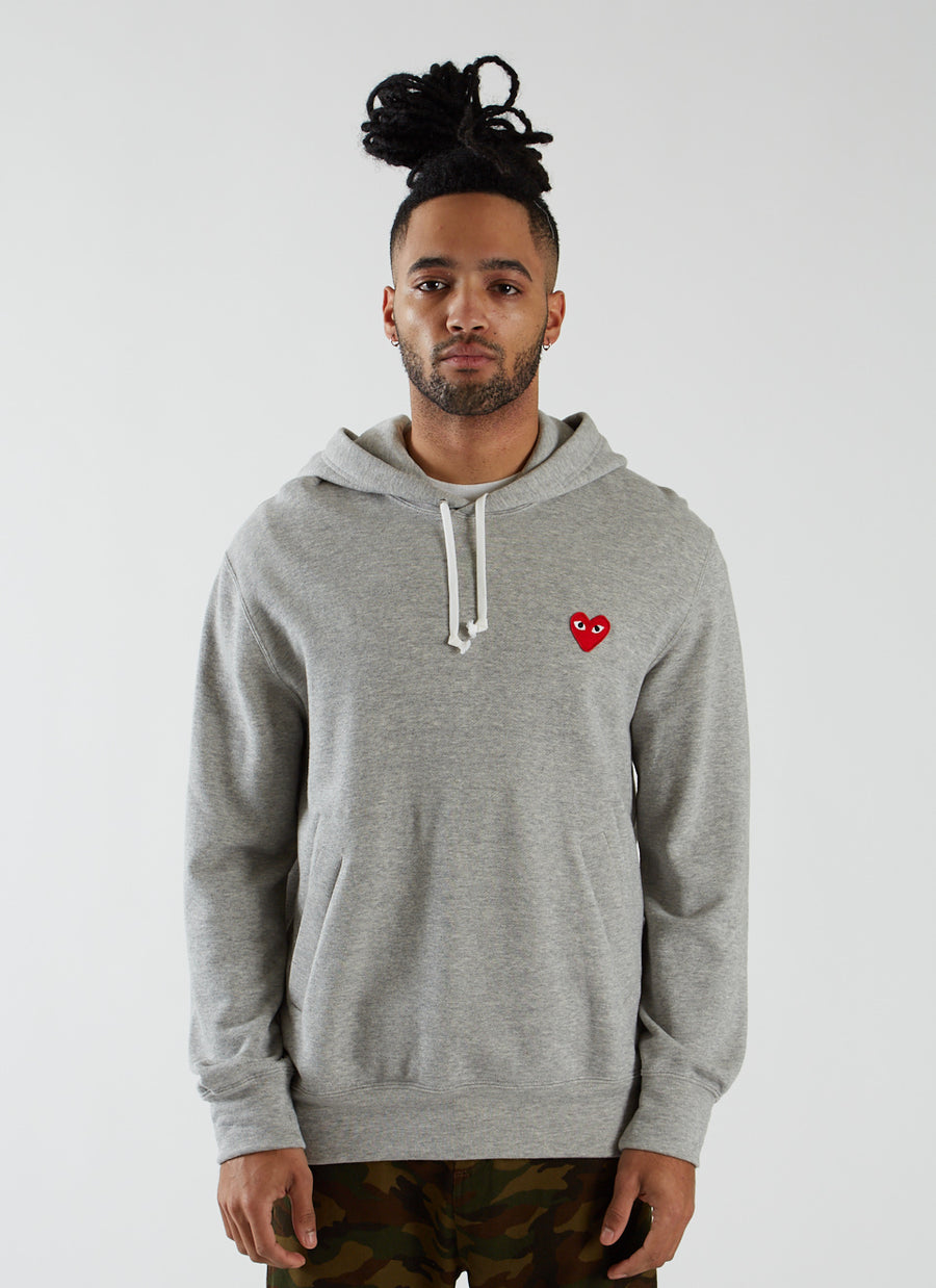 Hooded Sweatshirt with Red Heart - Grey
