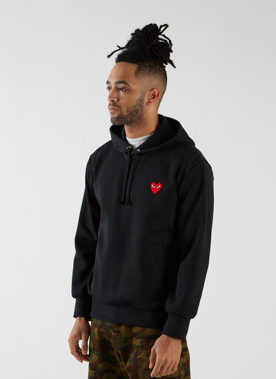 Hooded Sweatshirt with Red Heart - Black