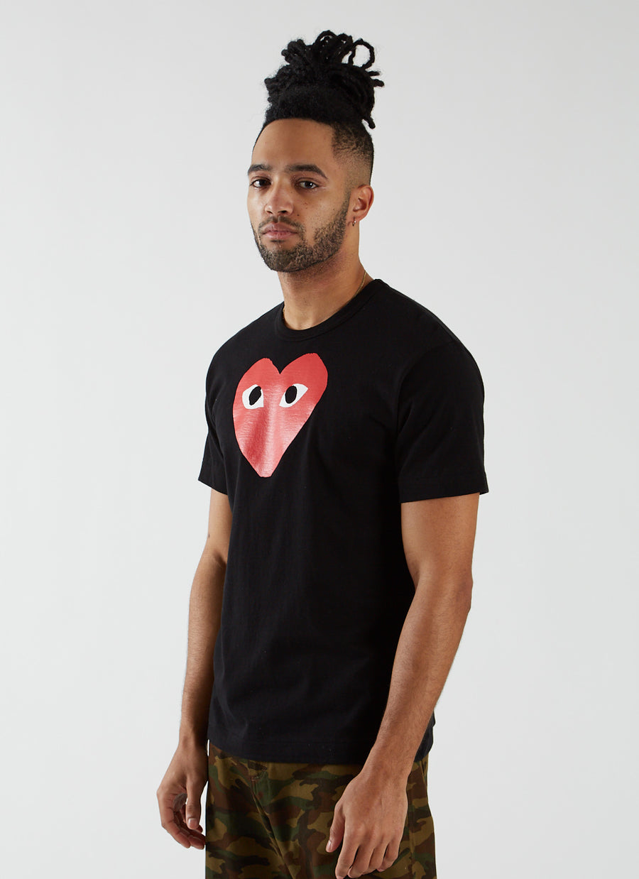 T-shirt with Large Red Heart - Black