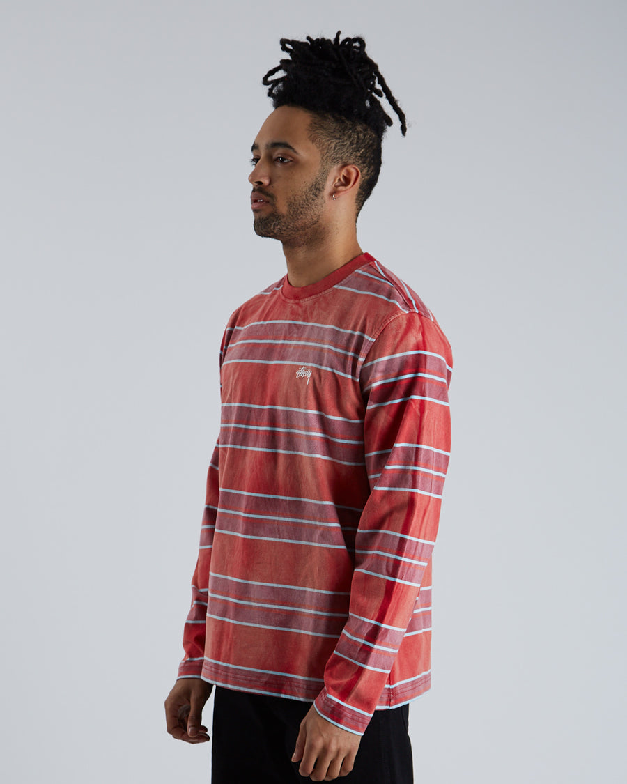 Bleach Stripe L/S Crew - Red